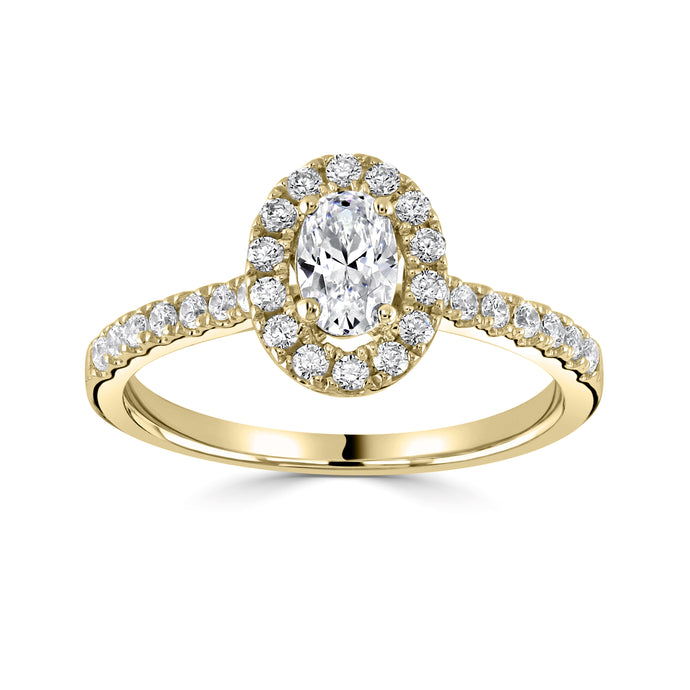 18ct Yellow Gold Oval Diamond Halo 1.16ct