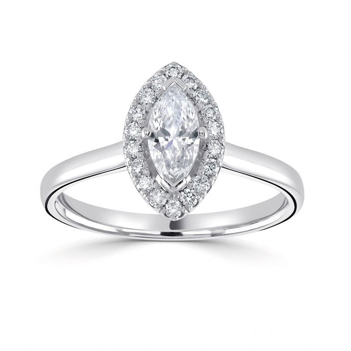 Platinum Diamond Marquise Halo  0.93ct