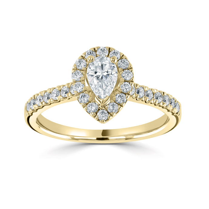 18ct Yellow Gold Pear Diamond Halo Ring 0.78ct