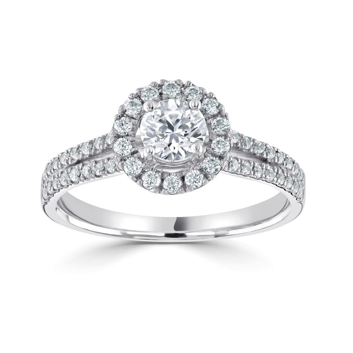 Platinum Round Halo Split Band 0.81ct