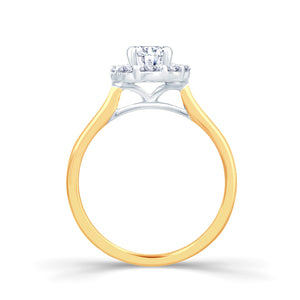 18ct Yellow Gold Oval Diamond Halo 0.85ct