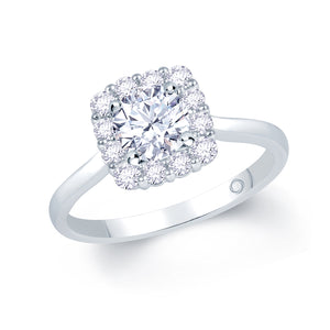 Platinum Round Brilliant Diamond Cushion Halo Ring 1.04ct
