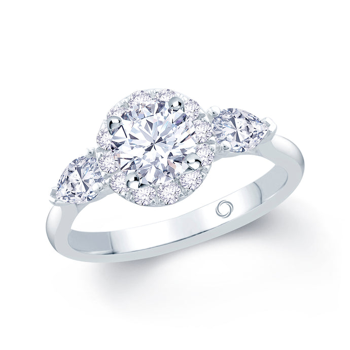 Brilliant and pear diamond trilogy with halo on plain platinum band.