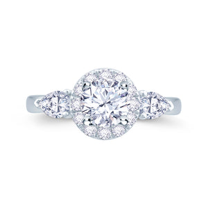 Platinum Brilliant and Pear Diamond Halo Three-Stone Ring