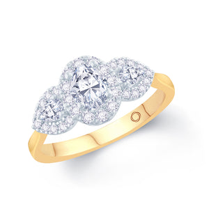 18ct Yellow Gold Three-Stone Oval Pear Halo