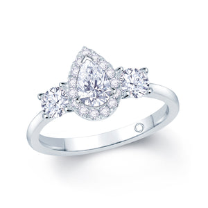 Platinum Three-Stone Pear Halo Round Sides