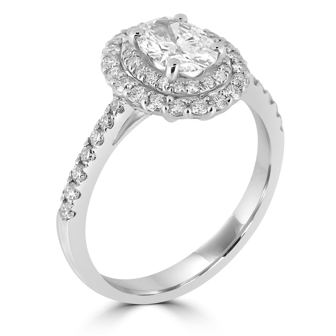 Platinum Double Halo Oval Diamond with Diamond Set Shoulders