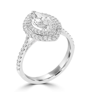Double halo diamond Marquise with diamond set shoulders in platinum