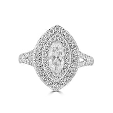 Load image into Gallery viewer, Double halo Marquise diamond with diamond set shoulders in platinum