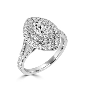 Platinum Marquise Double Halo Split Shoulders