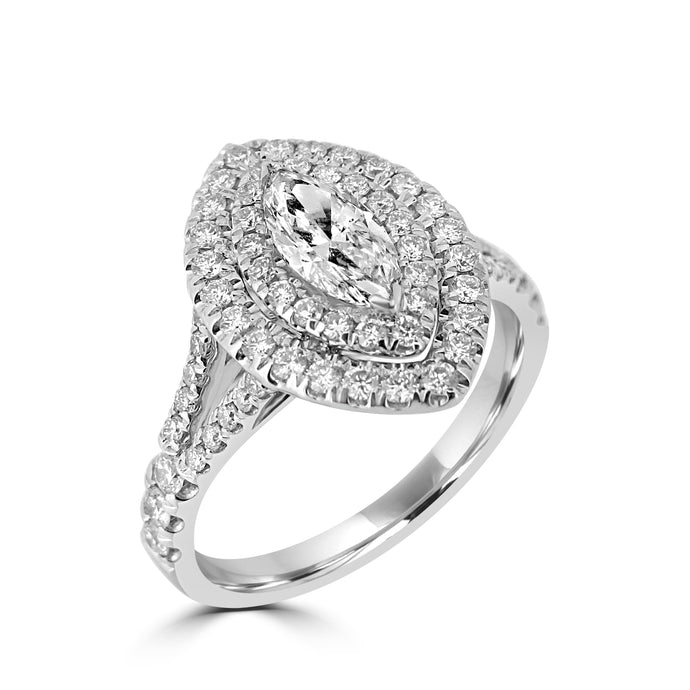 Double halo Marquise diamond with diamond set shoulders in platinum