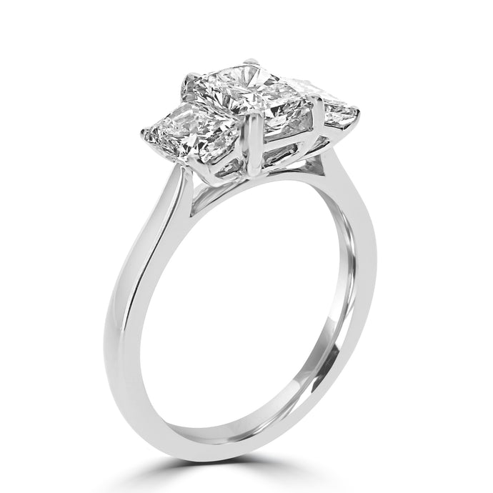 Platinum Radiant Cut Diamond Three Stone 2.01ct