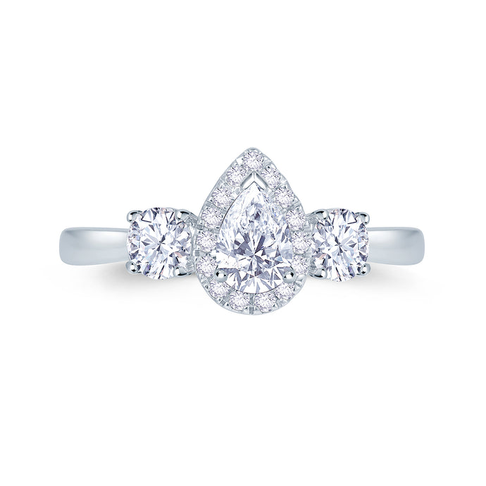 Pear Cut Halo With Two Round Brilliant Diamonds Set in Platinum