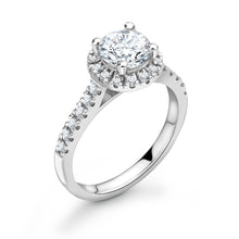 Load image into Gallery viewer, 18ct White Gold Brilliant Halo Diamond Shoulders