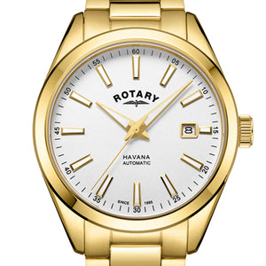 Rotary Havana Gold Plated Automatic Mens Watch