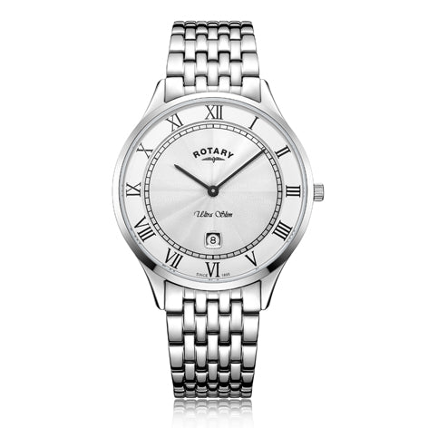 Rotary Ultra Slim White Gents Watch