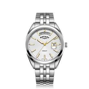 Rotary Gents Stainless Steel White Dial Henley