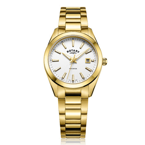 Rotary Havana Gold Plated Stainless Steel Watch