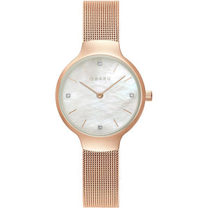Obaku VIKKE - ROSE, Mother of pearl dial and mesh bracelet