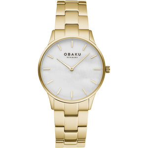 Obaku LYNG LILLE - Gold tone link bracelet, mother of pearl dial