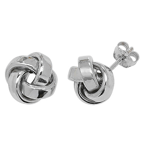 9CT White Gold Knot Earings