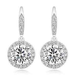 Sterling Silver Halo Round Drop Earrings