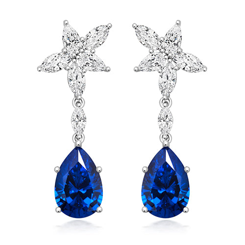 Marquee and Blue Pear Drop Earrings
