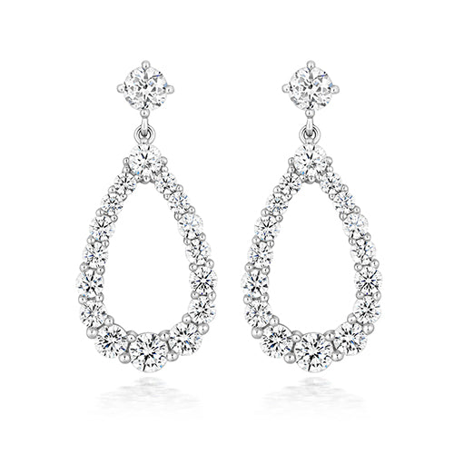 Sterling Silver Pear Shape Silhouette Earrings