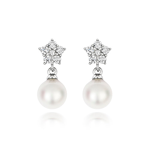 6 Stone Cluster Pearl Drops
