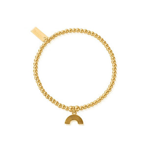 Chlobo Cute Rainbow Charm Yellow Gold Plate