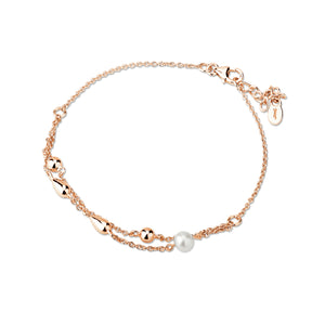 Paul Costelloe Sterling Silver Rose Double Chain Bracelet with Freshwater Pearls