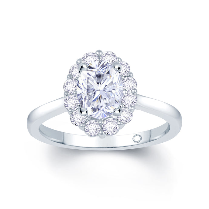 Platinum Oval Halo Wedfit Ring