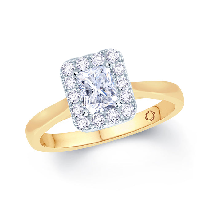 18ct Yellow Gold Radiant Diamond Halo