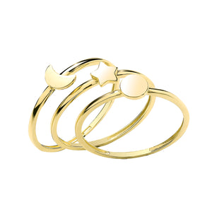 9ct Gold Star, Moon & Sun Triple Band Ring