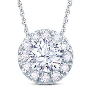 18ct White Gold 0.70ct Diamond Halo Necklace