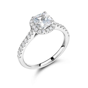 Platinum Cushion Shaped Halo With Pave Diamond Set Band
