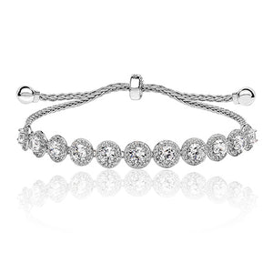 Sterling Silver Halo Adjustable Bracelet