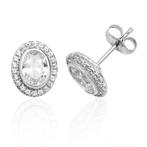 Sterling Silver Oval Stud Earrings