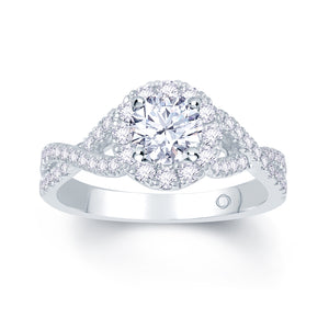 Platinum Brilliant Round Halo Twist Infinity Ring