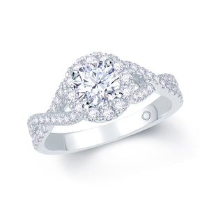 Diamond solitaire with halo and split and twist diamond set shoulders in platinum