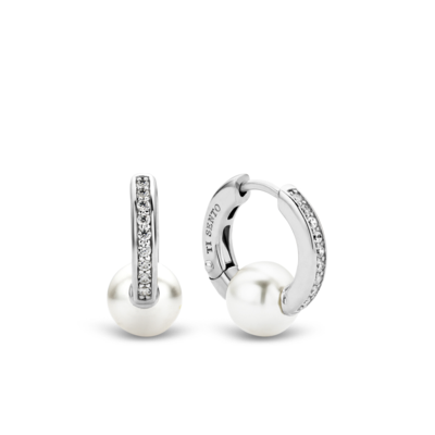 Ti Sento Pearl and Sterling Silver Hoop Earrings