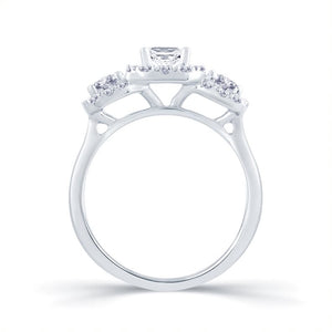 Platinum Three-Stone Emerald Cut Diamond Ring