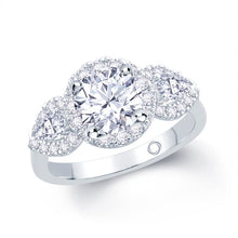 Load image into Gallery viewer, Platinum Round Pear Three-Stone Halo Ring