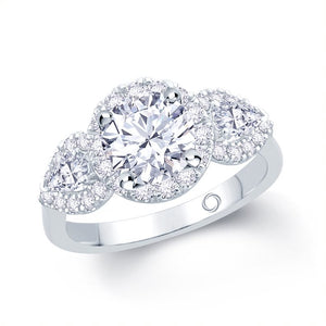 Platinum Round Pear Three-Stone Halo Ring