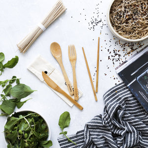 Ever Eco Bamboo Cutlery Set Plus Chopsticks With Organic Cotton Pouch