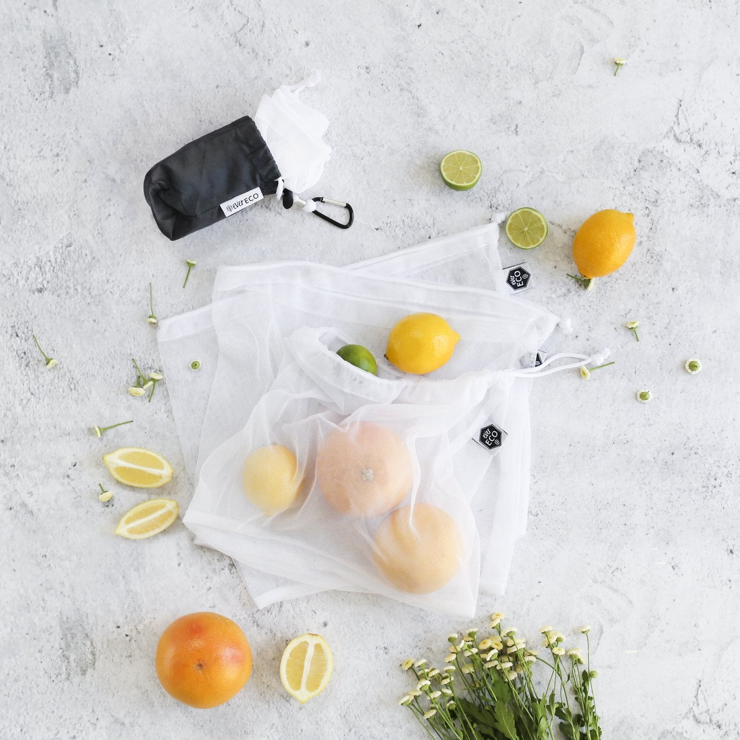 Ever Eco Reusable Produce Bags 4 Pack + Storage Pouch