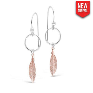 Monaco Coll Rose Gold Feather Earrings 5Cm
