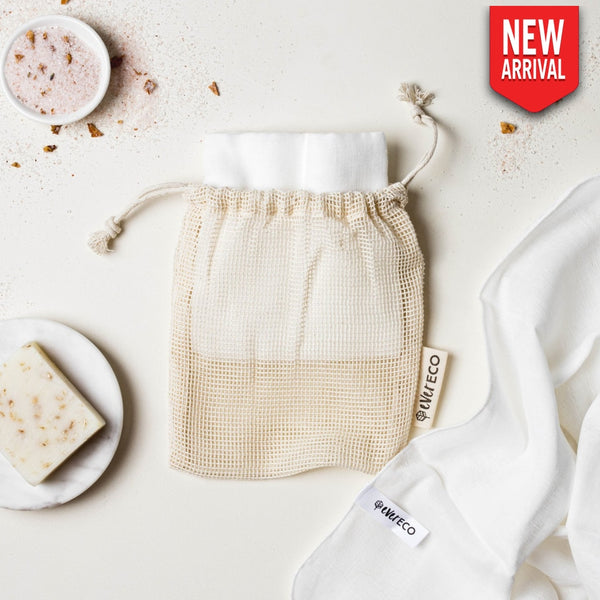 Muslin Face Cloths With Cotton Wash Bag X2
