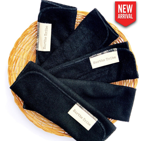 Reusable Bamboo Cotton Cloth Wipes - Black