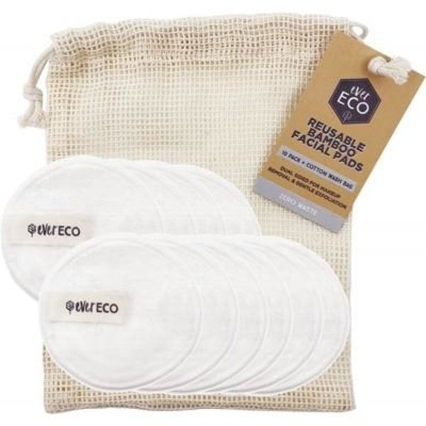 Reusable Bamboo Facial Pads With Cotton Wash Bag - 10 Pack